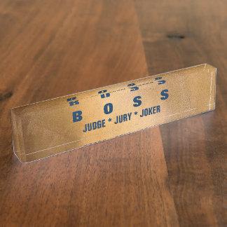 Lustige Chef-Kupfer-und Namensplakette