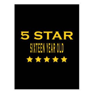 Lustige coole 16. Geburtstage: Fünf Stern sechzehn Postkarte