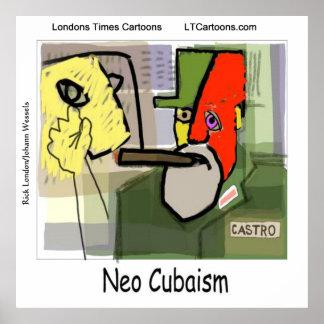 Lustige Cubist-Kunst Castro Poster