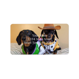 Lustige Dackel - Hundecowboy Adressaufkleber