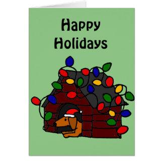 Lustige Dackel im WeihnachtsDoghouse Karte