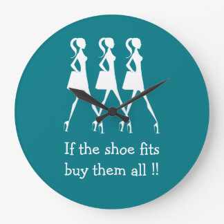 Lustige Diva-Schuh-Käufer Große Wanduhr