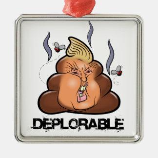 Lustige Donald- Trump - Trumpy-PooPoo Emoji Ikone Quadratisches Silberfarbenes Ornament