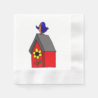 Lustige Drossel auf Birdhouse Papierservietten