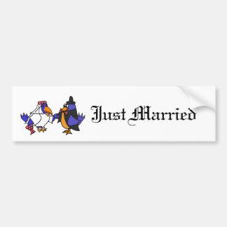 Lustige Drosseln Braut und Bräutigam-Hochzeit Autoaufkleber