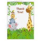 Lustige Dschungel-Baby-Tiere danken Ihnen zu Karte