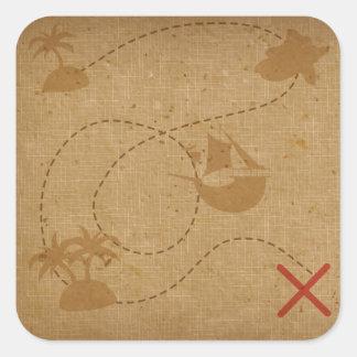 Lustige einzigartige Vintage Piraten-Schatz-Karte Quadratischer Aufkleber