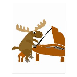 Lustige Elche, die Klavier-Vorlagen-Kunst spielen Postkarte