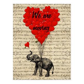 Lustige Elefantadressenänderung Karte Postkarten