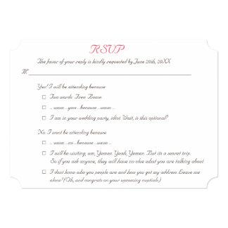 Lustige elegante personalisierte Hochzeit UAWG 12,7 X 17,8 Cm Einladungskarte