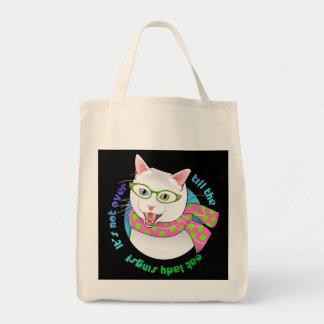 Lustige entzückende Hipster Doofus Einkaufstasche