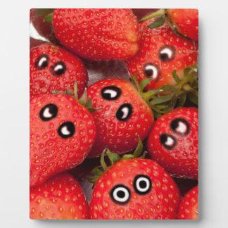 Lustige Erdbeeren Fotoplatte