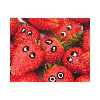 Lustige Erdbeeren Leinwanddruck