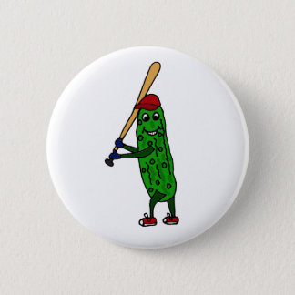 Lustige Essiggurke, die Baseball-Cartoon spielt Runder Button 5,1 Cm