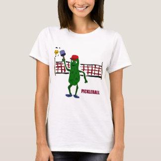 Lustige Essiggurke, die Pickleball mit Nettokunst T-Shirt