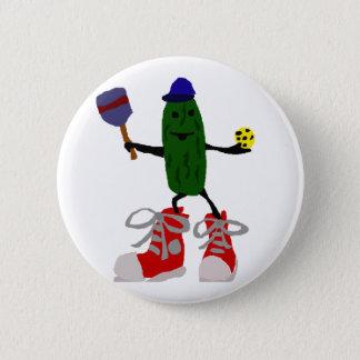 Lustige Essiggurke, die Pickleball und Paddel hält Runder Button 5,1 Cm