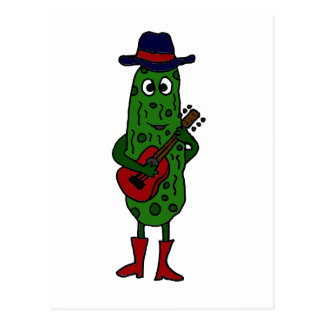 Lustige Essiggurke, die rote Gitarre spielt Postkarte