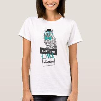 """lustige Eulenskizze Vintages """"Gespräch zu mir Eule T-Shirt"""