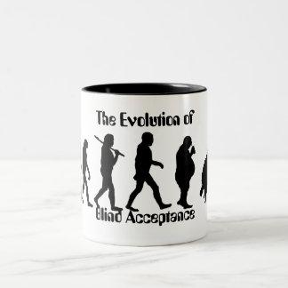 Lustige Evolution der Mann-Parodie Zweifarbige Tasse