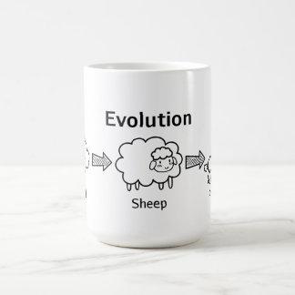 Lustige Evolution der Wolke in Schafe und in Pudel Kaffee Tasse