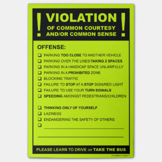 Lustige Fake-Parkkarte, die Zitat fährt Post-it Klebezettel