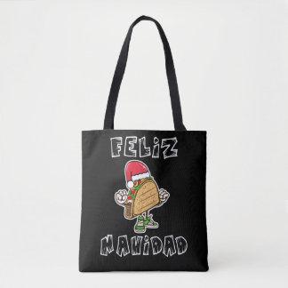 Lustige Feliz Navidad Taco-Sankt-Taschen-Tasche Tasche