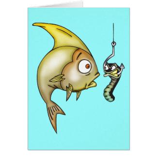 Lustige Fische und Wurm Karte