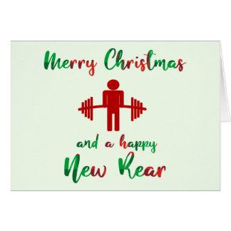 Lustige Fitness-Themed Weihnachtskarte Karte