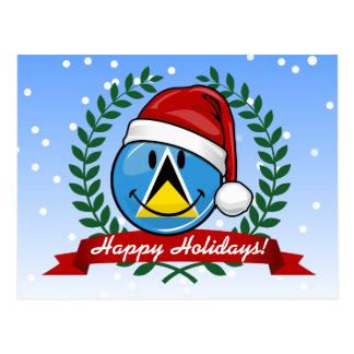 Lustige Flaggen-Weihnachtsart St. Lucian Postkarte