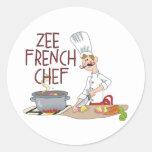 Lustige französische Kochs-Geschenke Runde Aufkleber