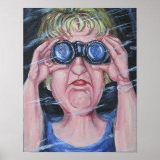 Lustige Frauen mit Ferngläsern Plakatdruck