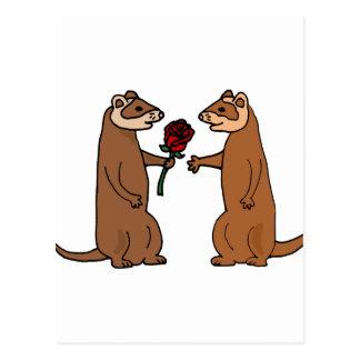Lustige Frettchen in der Liebe-Kunst Postkarte