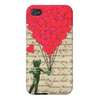 Lustige Frosch- und Herzballone Etui Fürs iPhone 4