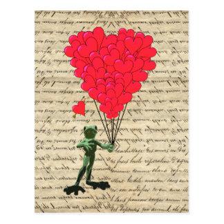 Lustige Frosch- und Herzballone Postkarte