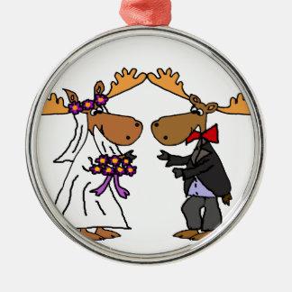 Lustige Funky Elch-Hochzeits-Cartoon-Kunst Silbernes Ornament