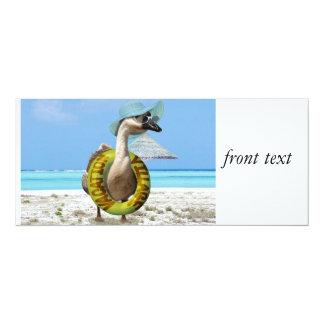 Lustige Gans am Strand 10,2 X 23,5 Cm Einladungskarte
