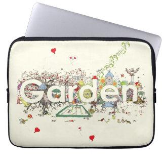 Lustige Garten-Wort-Kunst-bunter Malerei-Entwurf Laptop Sleeve