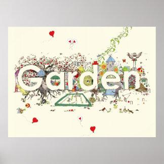 Lustige Garten-Wort-Kunst-bunter Malerei-Entwurf Poster