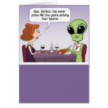 Lustige Geburtstags-Karte: Prüfendes alien