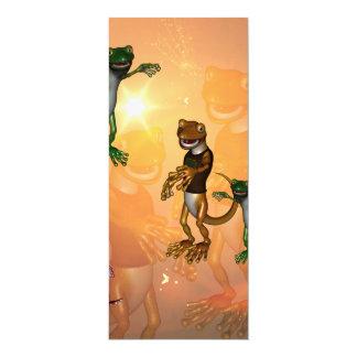 Lustige Geckos mit Hut und Shirt 10,2 X 23,5 Cm Einladungskarte