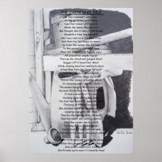 Lustige Gedicht-Stillleben-Gartenwerkzeugkunst Poster