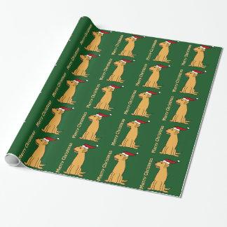 Lustige gelbe Labrador retriever-Weihnachtskunst Geschenkpapier