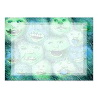 Lustige Gesichter. Spaß-Cartoon-Monster. Grün 12,7 X 17,8 Cm Einladungskarte