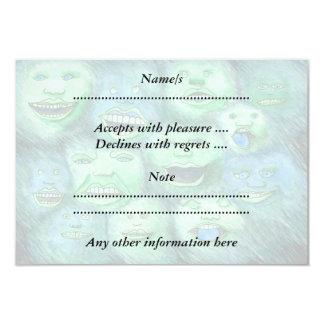 Lustige Gesichter. Spaß-Cartoon-Monster. Grün 8,9 X 12,7 Cm Einladungskarte
