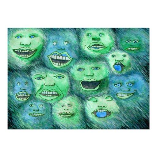 Lustige Gesichter. Spaß-Cartoon-Monster. Grün Individuelle Ankündigung