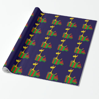 Lustige Giraffe im Weihnachtsgeschenk-Kasten Geschenkpapier