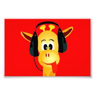 lustige Giraffe mit Kopfhörer-Comicart Fotos
