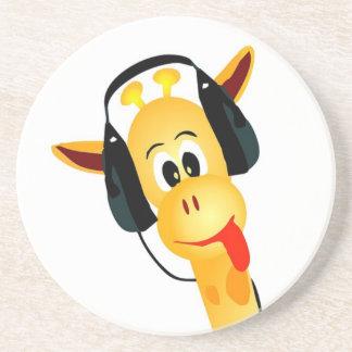 lustige Giraffe mit Kopfhörern Untersatz