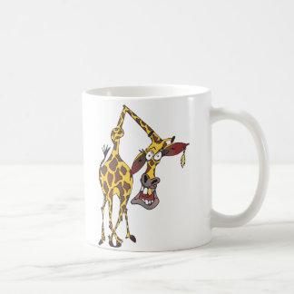 lustige Giraffe mit Ohrring und Goldzahn Kaffeetasse