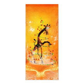 Lustige Giraffe mit Weihnachtsbaum 10,2 X 23,5 Cm Einladungskarte